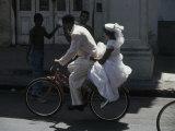 Bride and Groom on Bike, Havana, Cuba Photographic Print by Angelo Cavalli