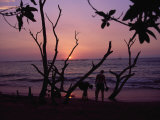 Couple and Sunset,Tamarindo, Costa Rica Photographic Print by Jennifer Broadus