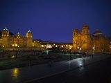 Plaza De Armas at Night, Peru Photographic Print
