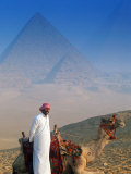 Man and Camel at Pyramids, Cairo, Egypt Photographic Print by Peter Adams