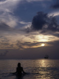 Woman Looking at Tall Ship, Cayman Islands Photographic Print by Bruce Clarke