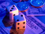 Dice and Money on Blue Background Photographic Print by Jim McGuire