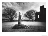 Statue of St Aiden, Lindisfarne Priory, Northumberland, England Giclee Print by Simon Marsden
