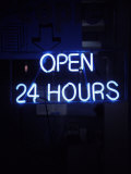 Open 24 Hours Neon Sign Photographic Print by Kurt Freundlinger