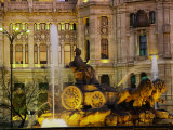 Plaza Cibeles at Night, Madrid, Spain Photographic Print by Peter Adams