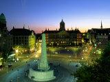 Koninklijk Palace, Dam Square, Amsterdam, Holland Fotografisk tryk af Walter Bibikow
