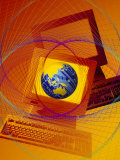 Globe on Computer Monitor Photographic Print by Carol &amp; Mike Werner