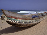 Keta fishing canoe on Keta Beach, Ghana, Photographic Print