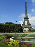 Eiffel Tower, Flowers and Fountain, Paris, France Photographic Print by James Lemass