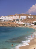 Aglos Stefanos Beach, Mykonos, Greece Photographic Print by Walter Bibikow
