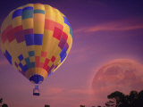 Hot Air Balloon and Moonrise Photographic Print by Ken Glaser
