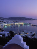Chapel & Mykonos Town at Night, Greece Photographic Print by Walter Bibikow