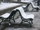 Isere Grenoble, Place Victor Hugo, Snow on Benches Photographic Print by Walter Bibikow