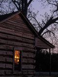 Log Cabin Window Reflecting Sunset, Red Hill, GA Fotoprint van Jeff Greenberg