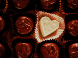 Heart White Chocolate with Dark Chocolates Photographic Print by Ellen Kamp