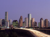 Downtown Skyline & Highway at Night, Houston, TX, USA, Photographic Print