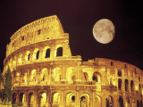 The Colosseum at Night, Rome, Italy Lámina fotográfica por Terry Why