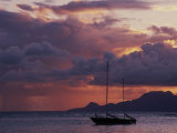 Sailboat in Shallow Water and Sunset Photographic Print by Gary D. Ercole