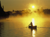 Silhouetted Canoeist, Boundary Waters, MN Photographic Print by Amy And Chuck Wiley/wales