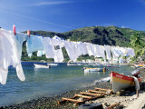 Drying Laundry on the Beach, St. Lucia Photographic Print by Angelo Cavalli