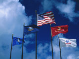 Flags of US Army, Navy, Marines, and Coast Guard Fotografie-Druck von Francie Manning