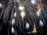 Fireworks Over the Statue of Liberty Photographic Print by Chris Minerva
