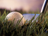 Golf Ball in Ruff with Iron in Background Impresso fotogrfica por Ellen Kamp