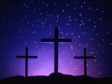 Silhouetted Crosses Against Star-Filled Sky Fotografie-Druck von Chris Rogers