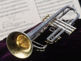 Silver Trumpet with Music Sheet Photographic Print by Bob Winsett