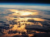 View of Sunset from Space Shuttle Photographic Print by David Bases
