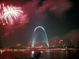 Fireworks Over St. Louis Arch, MO Photographic Print by Richard Stockton