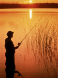 Silhouette of Man Fishing, Vilas City, WI Photographic Print by Ken Wardius