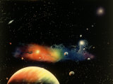 Space Illustration of Stars and Planets Photographic Print by Ron Russell