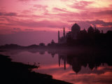 Silhouette of Taj Mahal, Agra, India Fotografiskt tryck av Mitch Diamond