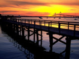 Newport Harbor and Newport Bridge, RI Fotografisk tryk af James Lemass