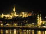View of Budapest, Hungary at Night Photographic Print by Ron Rocz
