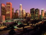 Los Angeles Skyline, California Lámina fotográfica por Mitch Diamond
