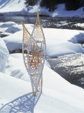 Snowshoes in Snow by River, Alaska Photographic Print by Mike Robinson