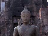 Monkeys on Buddha, Prang Sam Yot, Lopburi, Thailand Fotografisk tryk af Frank Staub