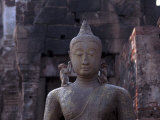Monkeys on Buddha, Prang Sam Yot, Lopburi, Thailand Photographic Print by Frank Staub