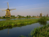 Windmills, Kinderdijk, Zuid, Holland Photographic Print by Walter Bibikow