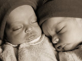 Newborn Twins Sleeping Photographic Print by Peter Walton