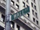 Wall Street Sign, Financial District, NYC, NY Lmina fotogrfica por Michael Evans