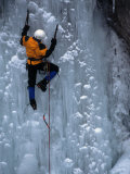 Man Ice Climbing at Ouray Ice Park, CO Photographic Print by Cheyenne Rouse