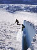 Climbers, Crevasse, Emmons Glacier, Mt. Rainier, WA Fotografisk tryk af Cheyenne Rouse