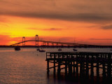 Newport Harbor and Newport Bridge, RI Fotografie-Druck von James Lemass