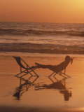 Silhouette of Woman in Beach Chair on the Beach Photographic Print by Mitch Diamond