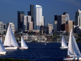 Sailboats and Skyline, Lake Union, Seattle, WA Photographic Print by Jim Corwin