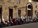 Scooters Lined Up Along Street, Florence, Italy Photographic Print by Frank Pedrick