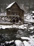 Old Mill, Babcock State Park, West Virginia Fotografisk tryk af Charles Benes